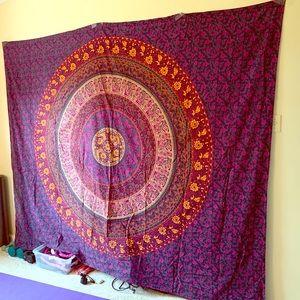 Colorful purple mandala tapestry